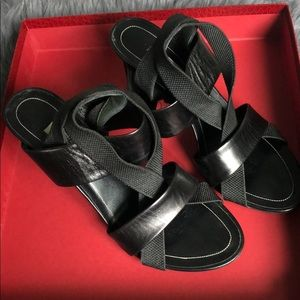 Black leather scrappy Balenciaga Sandals